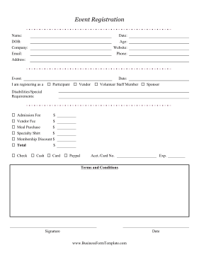 Event Registration Form Business Form Template