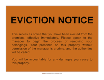 Eviction Notice Business Form Template  Eviction Notice Letter