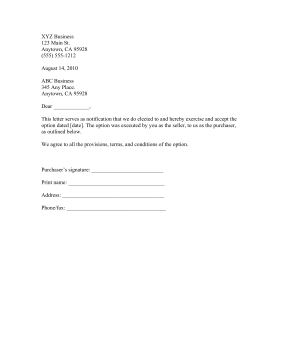 Exercise Option Business Form Template