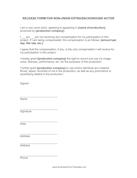 Extras release form template for Acting contract template