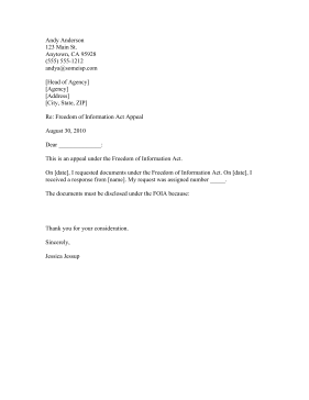 FOIA Request Appeal Business Form Template