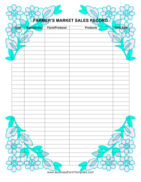 Farmers Market Sales Record Business Form Template