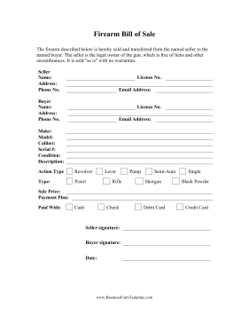 Firearm Bill Of Sale Business Form Template