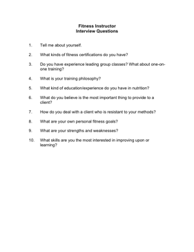 Fitness Instructor Interview Questions Business Form Template