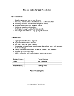 Fitness Instructor Job Description Business Form Template