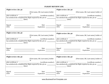 Flight Review Log Business Form Template