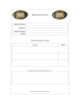 Football Sponsorship Form Business Form Template