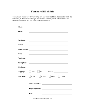 Furniture Bill Of Sale Business Form Template