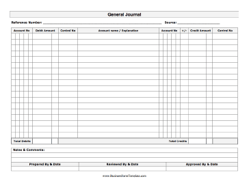 general journal excel template