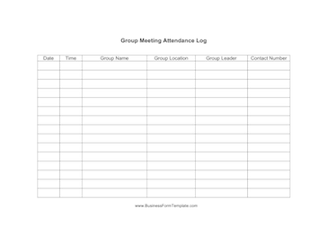 Group meeting attendance log template for Group sign in sheet template