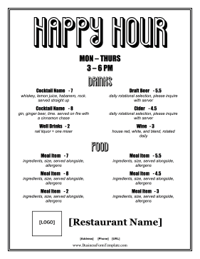 Happy Hour Menu Business Form Template