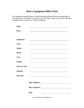 Heavy Equipment Bill of Sale Business Form Template