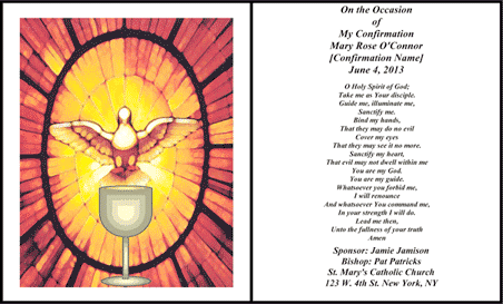 image relating to Free Printable Confirmation Cards referred to as Holy Affirmation Card (2 for each web site) Template