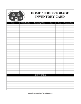 Home Food Storage Inventory Card Business Form Template