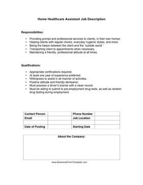 Home Healthcare Assistant Job Description Business Form Template