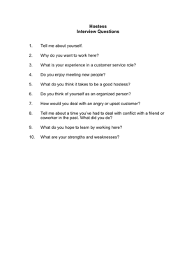 Hostess Interview Questions Business Form Template
