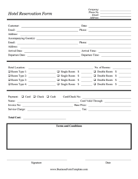 Hotel reservation form template for Accommodation booking form template