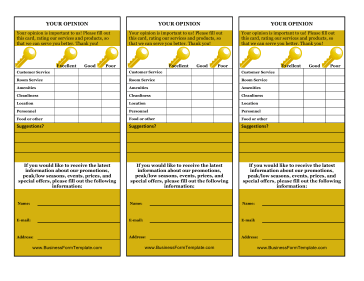 Hotel Your Opinion Card Business Form Template