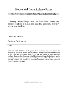 Household Items Release Form Business Form Template