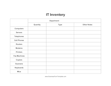 IT Inventory Business Form Template