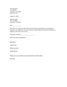 Insurance Claim Business Form Template