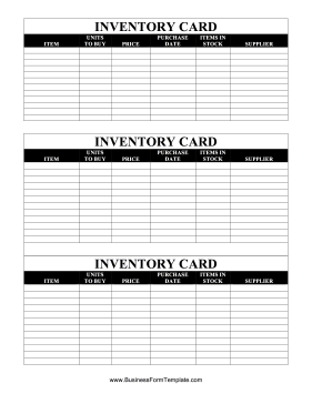 Inventory Cards — Black And White Business Form Template