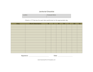 Janitorial Checklist Business Form Template