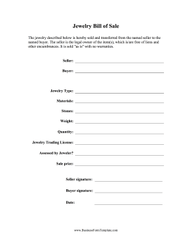 Jewelry Bill of Sale Business Form Template