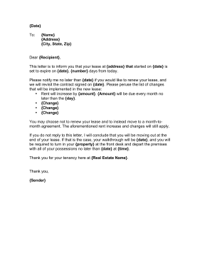 Landlord Lease Renewal Letter Business Form Template