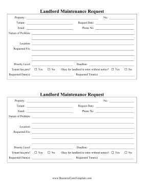 Landlord Maintenance Request Business Form Template
