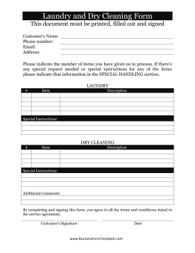 Laundry Dry Cleaning Form Business Form Template