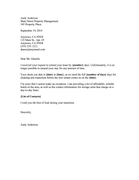 rental denial letter lease extension rejection template