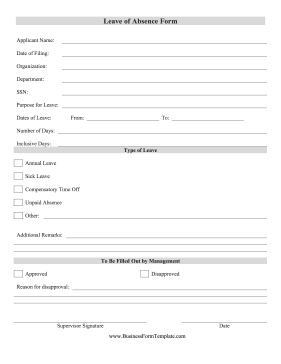 Leave Of Absence Form Business Form Template  Leave Request Template