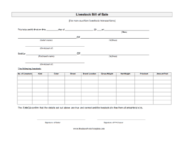 Livestock Bill Of Sale Business Form Template