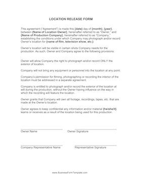 Location Release Form Business Form Template