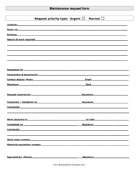 Maintenance Request Business Form Template