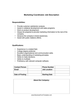 Marketing Coordinator Job Description Business Form Template