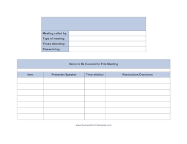 Meeting Agenda Landscape Business Form Template