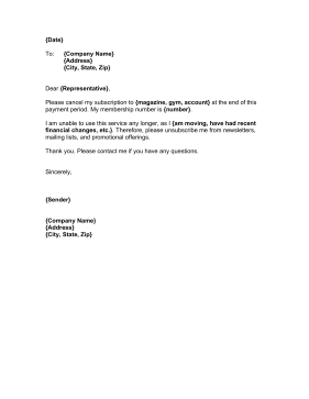 Membership Cancellation Letter Business Form Template