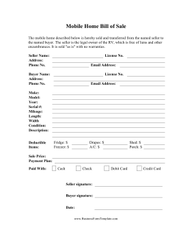 Mobile Home Bill Of Sale Business Form Template  Bill Of Sale Template Doc