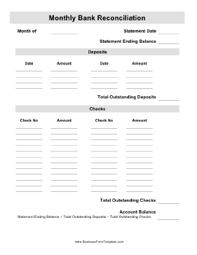 Monthly Bank Reconciliation Business Form Template  Bank Reconciliation Statement Template