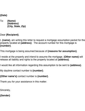Mortgage Assumption Letter Business Form Template
