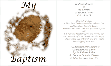 My Baptism Holy Card (2 per page) Business Form Template