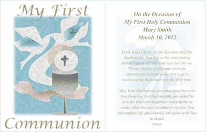 My First Holy Communion Card (2 per page) Business Form Template