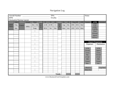 Navigation Log Business Form Template