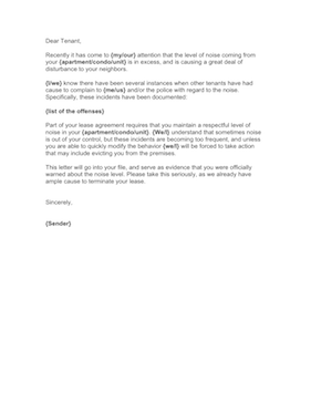 Noise Complaint Letter Business Form Template