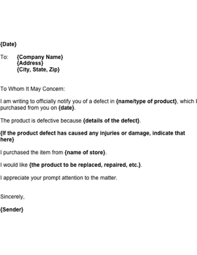 Notice of Product Defect Business Form Template