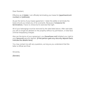 lease termination letter from landlord to tenant