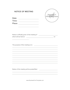 Notice of Meeting Business Form Template