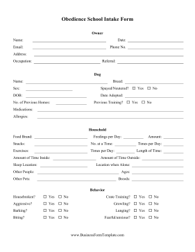 Obedience School Intake Form Business Form Template